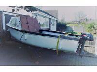 Fibreglass boat with engine & trailer