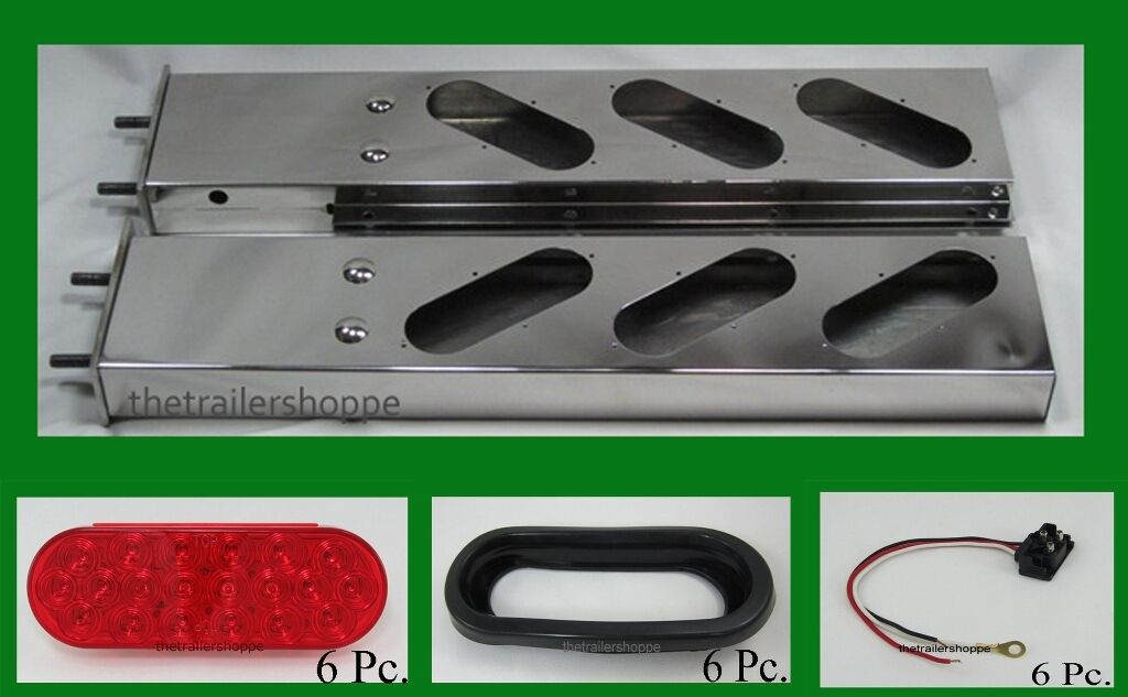 Stainless Steel Spring-Loaded Mud Flap Light Bar 6 LED Lights, Grommets, & Plugs