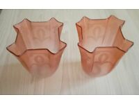 VINTAGE 1920 1930 ART DECO Glass Light Shades Pair Opaque Engraved Set Pale Pink Collectors ANTIQUE