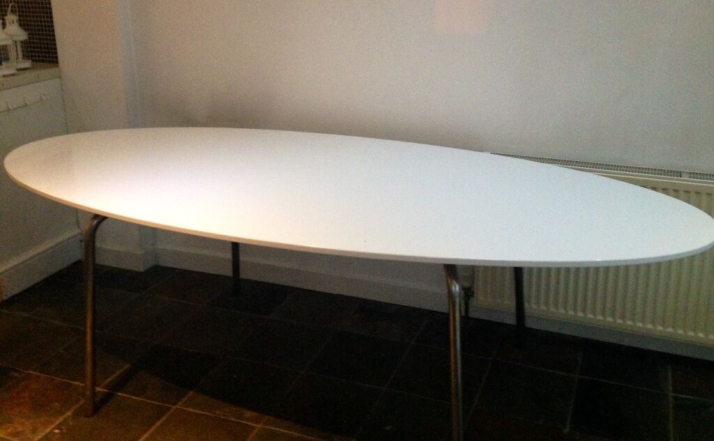 Ikea Gidea White Gloss Oval Dining Table In Norwich