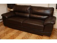 3 Seater Sofa Real Leather brown chocolate very comfy 236 x 100 cms, 95 cms high