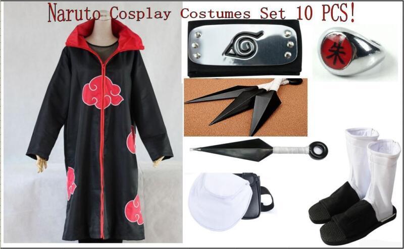 Naruto Akatsuki Uchiha Itachi Cosplay Costumes 10 PCS Set Cloak Shoes Headband