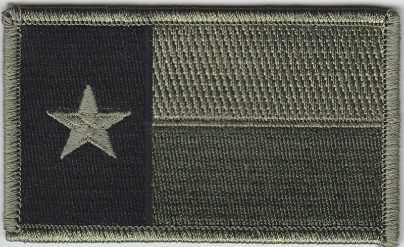 Texas TX State Flag Patch SUBDUED OD GREEN/BLACK