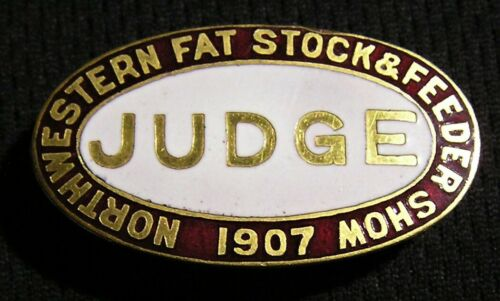1907 NORTHWESTERN FAT STOCK & FEEDER JUDGE PIN BADGE - Stockyards Livestock Live