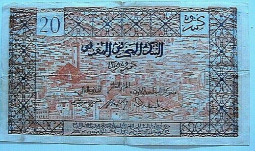 1953 Morocco 20 Francs Ch VF Very Fine SCARCE Original Paper Money Currency P-39