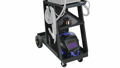 Welding Push Rolling Cart 2 Shelves Storage Organizer Mig Tig Arc Tank Hook