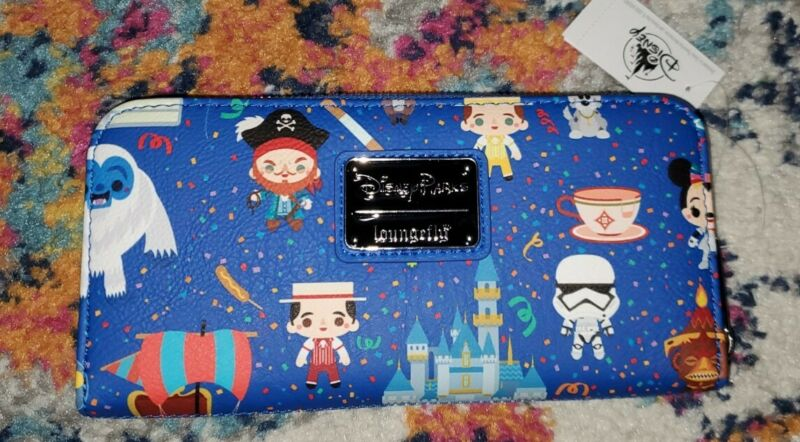 NEW Disney Parks Loungefly Icons Attractions Characters Wallet Zip-Around NWT