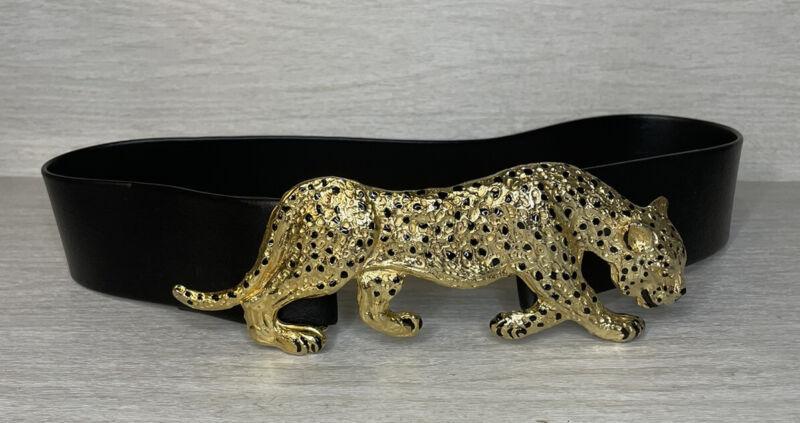 "Vintage 1987 MIMI DI N 7"" Huge Gold Tone Leopard Buckle W/ Black Belt."