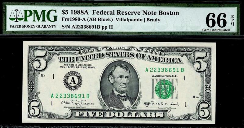 1988a $5 Boston Federal Reserve Note FRN PMG 66 EPQ 1980-A