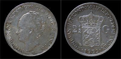 Netherland Wilhelmina I 2 1/2 gulden(rijksdaalder)1939