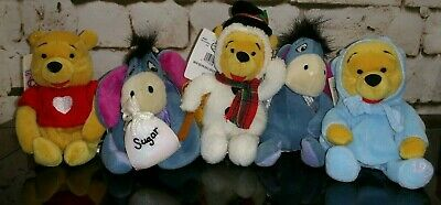Disney Store Plush Mini Bean Bag Lot Of 5 Winnie the Pooh Eeyore Cupid Easter