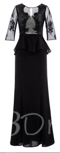 Size 14 Black Half Sleeves Appliques Ruffles Evening Dress