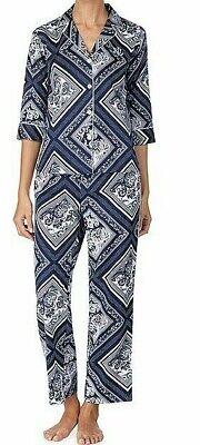 NWT Ralph Lauren Navy Blue/White BANDANNA~PATCHWORK COTTON SATEEN Pajama Set XL](Cotton Sateen Pajamas)