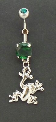 Dangle Belly Button Ring Frog Charm Emerald Green Gems Surgical Steel 316L 14g - Emerald Belly Button Ring