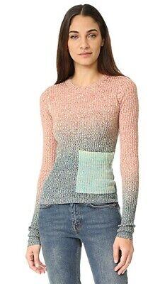 ACNE STUDIOS Rasha Mouline Sweater Ribbed Turquoise Orange Space-Dye $410 - XS