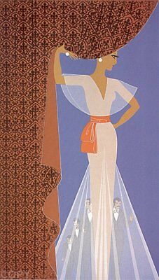 "Erte 1977 ""The Curtain"" 1977 Serigraph Signed and Numbered 217/300- With COA"