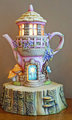 Ceramic Bisque Ready to Paint Lighted Enchanted Fairy Cottage on log slice base