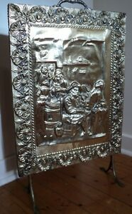 Decorative Embossed Brass Fireplace Screen