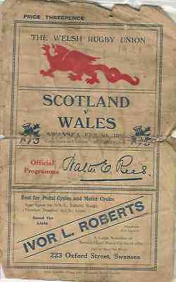 WALES v SCOTLAND 1921 RUGBY PROGRAMME 5 Feb at SWANSEA *VERY RARE*