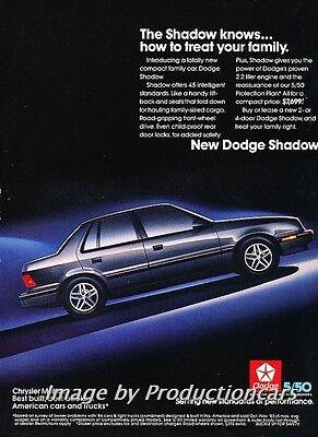 (1987 Dodge Shadow Original Advertisement Print Art Car Ad J756)