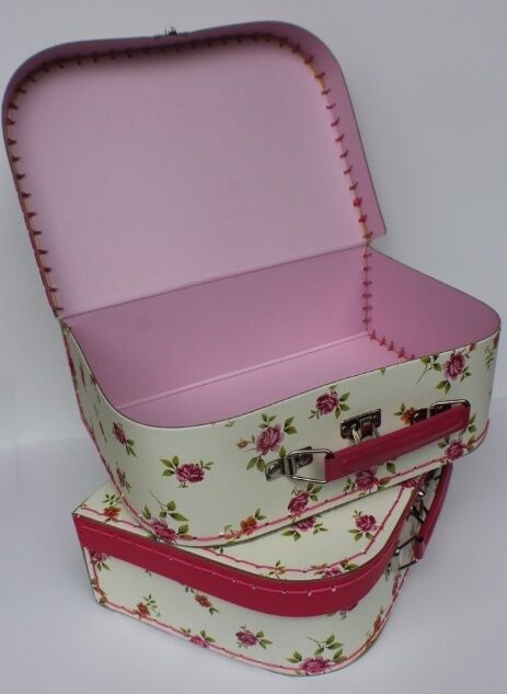"""Lovvbugg New Floral Suitcase M for 18"""" American Girl Doll Accessory Storage"""