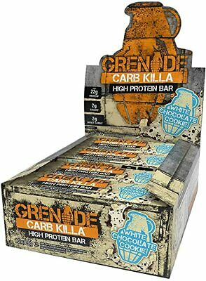 Grenade Carb Killa High Protein Low Carb Sugar Bar White Choc Cookie 12 x 60g