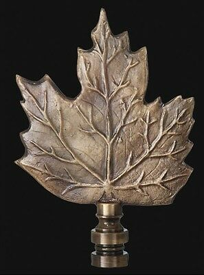 MAPLE LEAF LAMP FINIAL ~ Antique Brass Finish  { 3 3/4