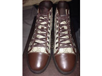 Gucci High Top Mongram Trainers in Brown Size 11