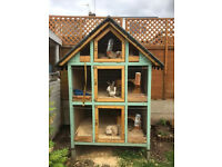 Large Custom Built Rabbit Hutch Three Tier
