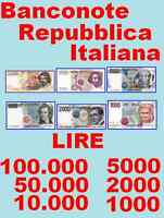 Banconota Da Lire 100000 50000 10000 5000 2000 1000 Banconote Serie Completa -  - ebay.it