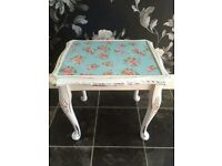 VINTAGE SHABBY CHIC FLORAL TABLE PAIR.