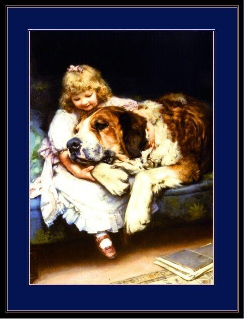 English Picture Print St. Saint Bernard Puppy Dog Girl Vintage Poster Art