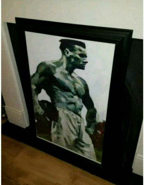The footballer. Large picture/ painting signed by artist collectable print in black frame 68 x 96