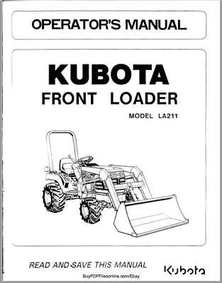 Kubota Front Loader La211 Operators Manual On Cd