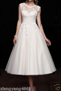 New-White-Ivory-Tea-Length-Short-Lace-Vintage-Wedding-Dress-Bridal-Gowns-6-16