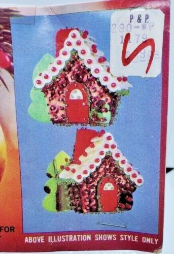 Walco GINGERBREAD HOUSE Vintage Sequin Bead Christmas Ornament Craft Kit NOS