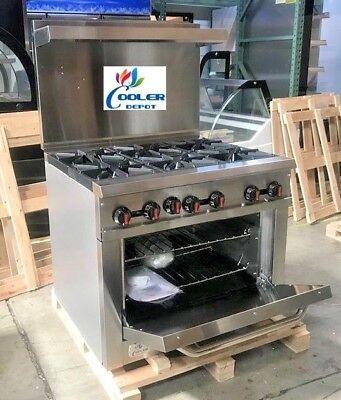New 36 Oven Range 6 Burner Hot Plate Stove Commercial Kitchen Restaurant Nsf