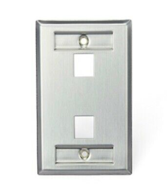 Leviton 43080-1L2 QUICKPORT Stainless Steel Wall Plate with ID Windows. 2-Port Wall Plate 2 Id Windows