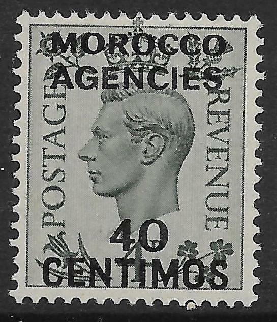 MOROCCO AGENCIES SG169 1940 40c ON 4d GREY-GREEN MTD MINT