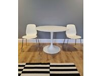 IKEA round white table and chairs