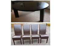 Large Dark Wenge Round Table & 4 Dark Brown Faux Leather Chairs FREE DELIVERY 689