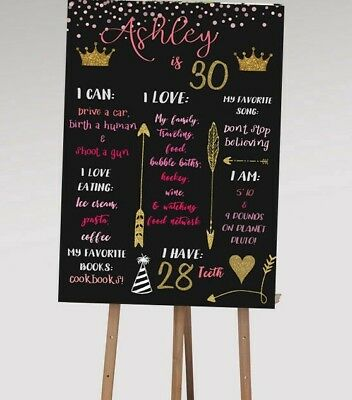 Printable 21st / 30th Personalised First Birthday Party Milestone Board - 1st Birthday Board