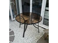 Black Metal Outdoor Patio Glass Dining Table