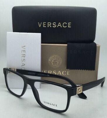 New VERSACE Rx-able Eyeglasses VE 3211 GB1 55-17 145 Black Frames w/ Demo Lenses