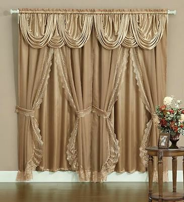 Sheer & Lace Victorian Window Curtain Set w/ Satin Valance & Backing Panel GOLD