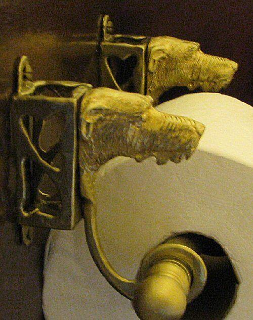 IRISH WOLFHOUND Bronze Toilet Paper Holder OR Paper Towel Holder!