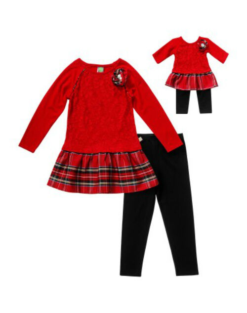 """Girl 4-14 And 18"""" Doll Matching Red Plaid Christmas Tunic..."""