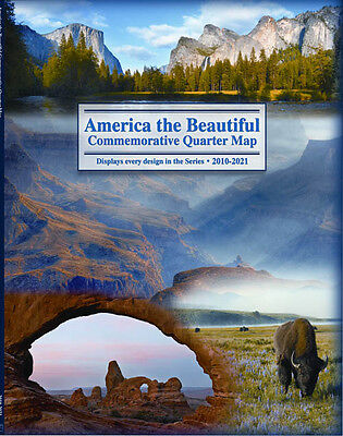 US Quarters Display Map America The Beautiful State National Park Gift Holder  ()