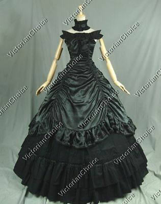 Victorian Southern Belle Gothic Black Ball Gown Prom Dress Steampunk Cosplay 135 - Black Southern Belle