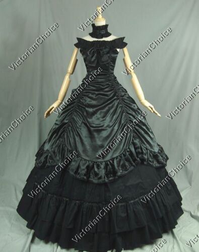 Victorian Gothic Black Ball Gown Southern Belle Wild West Theater Dress 135